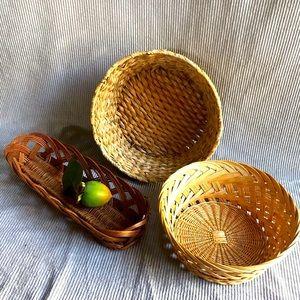 Bundle lot of 3 round wicker rattan boho baskets
